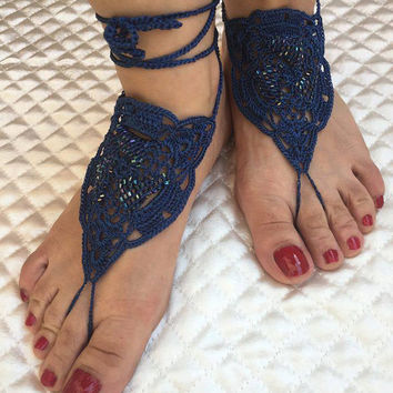 Crochet barefoot sandals, Barefoot sandals, Bridal foot jewelry, Beach wedding, Nude shoes, Footless sandals, Gift Ideas, Yoga jewelry
