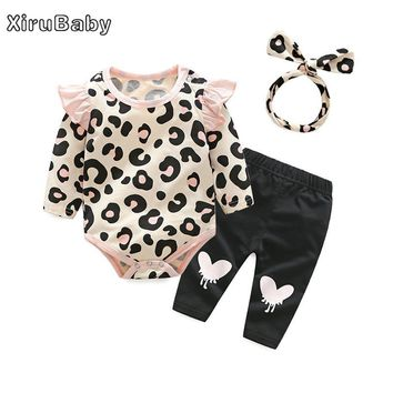 Xirubaby Baby Clothing Sets 2017 Baby Girl Winter Clothes Infant Clothing Leopard Print Rompers Headband Pants 3PCS Outfits Set