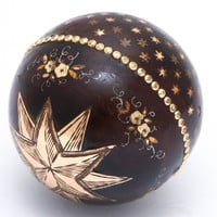 Beads of Gold and Heavenly Stars and Flowers on a Pique Ball Pendant