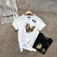 """Dolce & Gabbana"" Women Fashion All-match Cat Embroidery Short Sleeve Casual T-shirt Top Tee"
