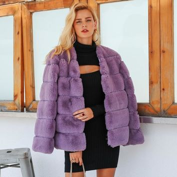 Wifey Faux Fur Coat - Purple