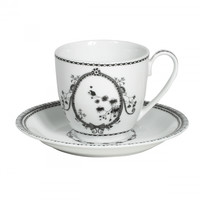 Flower Porcelain Tea Cup & Saucer, Set of 6