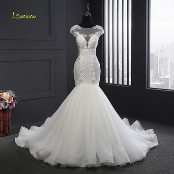 Loverxu Vestido De Noiva Elegant Lace Mermaid Wedding Dresses 2018 Sexy Backless Appliques Beaded Ruffles Bridal Gown Plus Size