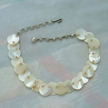 MOP Round Disk Faux Pearl Choker Necklace Vintage Jewelry