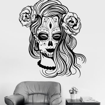 Vinyl Wall Decal Calavera Mexico Mexican Girl Day Of The Dead Stickers Unique Gift (1363ig)