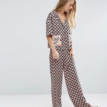 ASOS PREMIUM Satin Tile Print Floral Patch Pocket Shirt & Long Leg Pyjama Set at asos.com