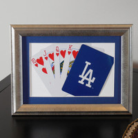 Los Angeles Dodgers 5x7 Flush? Hearts Authentic Playing Card Display Matted FRAMED NF2218