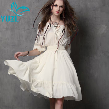 Women Dress 2017 Yuzi.may New Vintage Cotton Dresses Lantern Sleeve Ruffles Patchwork A-Line Vestidos Femininos A6539 2 Colors