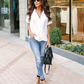 Your Classic Drape Front Collared Blouse - Off White  - FINAL SALE