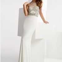 Jasz Couture 6054 High Illusion Neckline Prom Gown