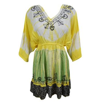 Mogul Womens Tie Dye Dress Floral Embroidered Yellow Rayon Summer Cover Up - Walmart.com