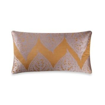 Kevin O'Brien Falling Leaves Embroidered Leaves Breakfast Toss Pillow in Grey/Gold