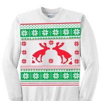 Ugly Christmas Sweater/Sweatshirt with Reindeer Pooping