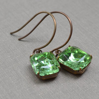 Green Rhinestone Earrings Dark Peridot Earrings Retro Bridal Earrings Vintage Peridot Rhinestone Estate Earrings Old Hollywood Style Rustic