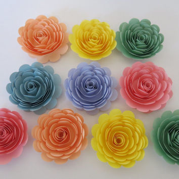 Large Pastel Rainbow Roses, Set of 10 paper flowers for Neutral baby shower table centerpieces Wedding Decorations adoption gift idea 3""