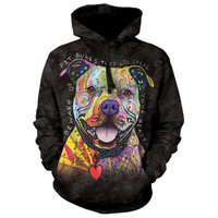 BEWARE OF PIT BULLS HOODIE The Mountain Pitbull Dog Rescue Sweatshirt S-2XL NEW