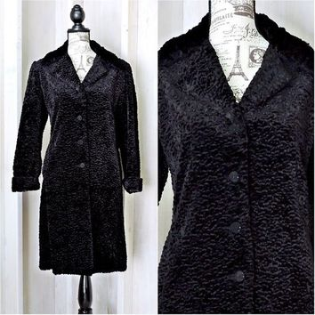 Lambswool coat size S / M  / black faux fur coat / curly Persian lambs wool coat / warm winter coat /  vintage long fake fur