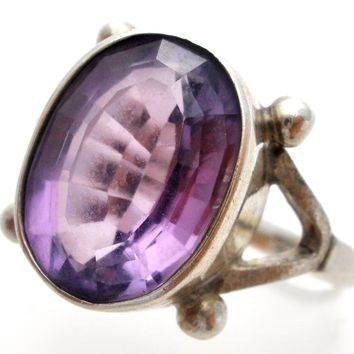 Vintage 3 Ct Amethyst Ring Sterling Silver Size 6.5
