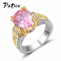 PATICO Luxury 925 Sterling Silver Round Rings For Ladies Fashion Pink CZ Stone Wedding Ring For Women Gold Anel Bague Lover Gift