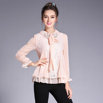 Lace Layered Collar Chiffon Shirt Blouse Bow Tie Beaded Long Sleeve Shirts Spring Summer 2017 Plus Size Women Clothing l to 5xl