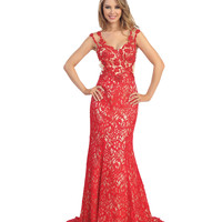 Red & Nude Floral Lace Cap Sleeve Gown Prom 2015