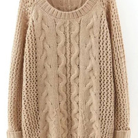 Apricot Round Neck Hollow Cable Knit Sweater