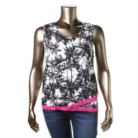 INC Womens Plus Knit Tropical Print Tank Top