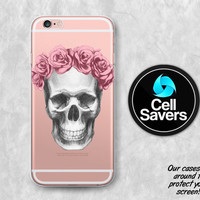 Skull Flower Crown Clear iPhone 6s Case iPhone 6 Case iPhone 6 Plus iPhone 6s Plus iPhone 5c iPhone 5 SE Skull Pencil Sketch Roses Floral