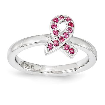 Stackable Sterling Silver with Rose Swarovski Crystals 9mm Ribbon Ring