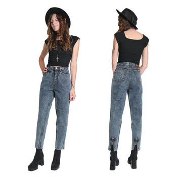 80s 90s High Waisted Acid Wash Jeans  - Jordache Jeans - High Waist Jeans - High Waisted Jeans - Zipper Ankles - Slim Fit Mom Jeans Grunge