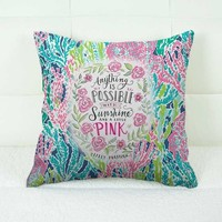 "Lilly Pulitzer Coral New Quote Custom Decorative Throw Pillow Case 18"" x 18"""