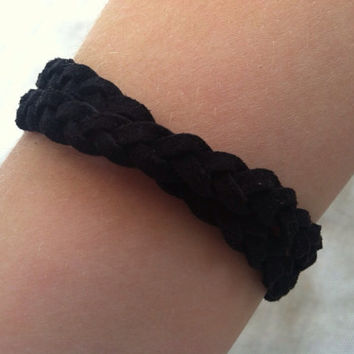 Suede Wrap Bracelet in Black Braided Boho Friendship