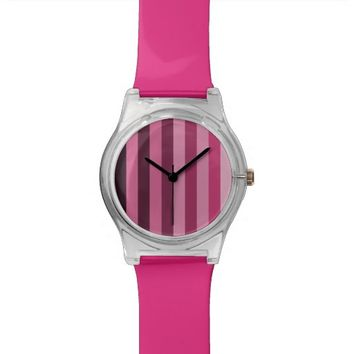 Monochrome Shades of Pink Color Block Stripes Wristwatch