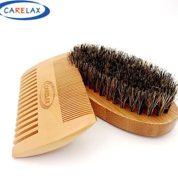 Comb & Shaving Brush Set Bamboo Boar Bristles Mustache Beard Cleaning Men's Shaving Brush Face Massage Gift for Men