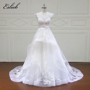 Eslieb 100% Real Photos Luxury Wedding Dresses Royal Train lace A-Line Cap Sleeve Wedding Dress 2018 Vestido XF16042