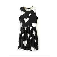 Magic Pieces Black Hearts Printed Sleeveless Dress 060527