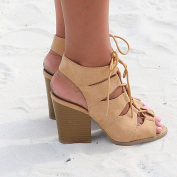 Only You Toffee Cutout Gladiator Heels