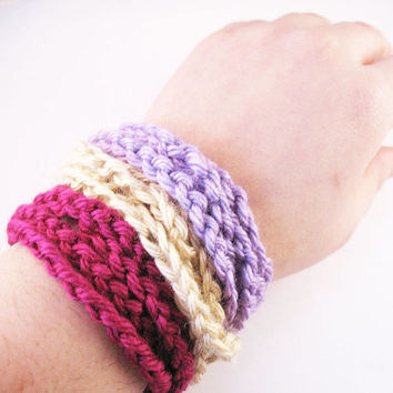FOR FALL - Set of Crochet Chain Cuff Bracelets - Magenta, Lilac and Sand Set of 3
