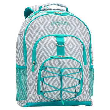 Gear-Up Preppy Diamond Backpack, Grey