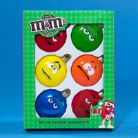 "Set of 6 Glass M&M's Silly Expressions Candy Christmas Ornament 2.25"" - Walmart.com"