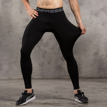 Vansydical Mens Compression Tights Skin Pants Running Jogging Jogger Fitness Excercise Gym Athletic long pant Spandex Quick Dry