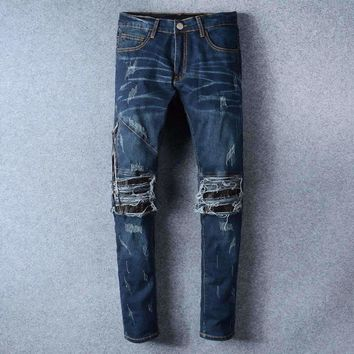 French Style 501Mens Distressed Embellished Ribbed Stretch Moto Pants Biker Blue Jeans Slim Trousers Size 28 42