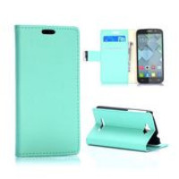 Fashion Wallet Style Magnetic Flip Stand PC+ PU Leather Case for Alcatel One Touch Pop C7 (Mint Green)