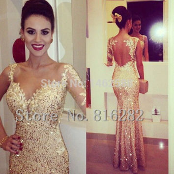 2015 Sexy mermaid prom dress long sleeve prom dresses golden Beading dress for prom vestidos para festa curtom made