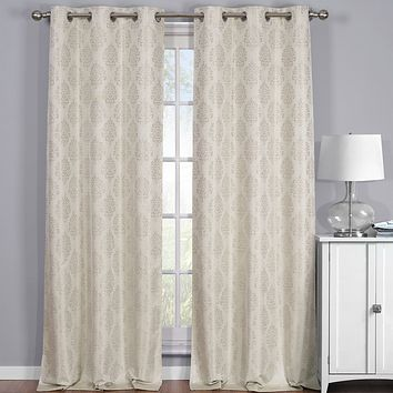 Beige 76x63 Paisley Thermal Blackout Grommet Curtain Panels (Set of 2)