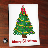 Views from the Christmas Tree - Hip Hop Christmas Card - Drake Christmas Card - On Top of Chrismas Tree - 4.5 X 6.25 Inch Card