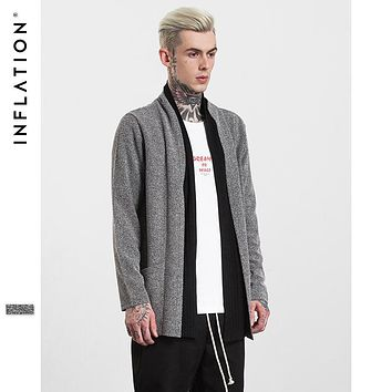 INFLATION 2017 New Arrival Mens Long Knitted Cardigans Mixed Colors Male Streetwear Sweater Thin Autumn Man's Coats 253W17