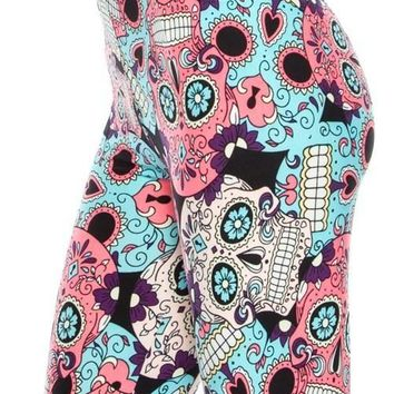 Sugar Skull Print Full Leggings