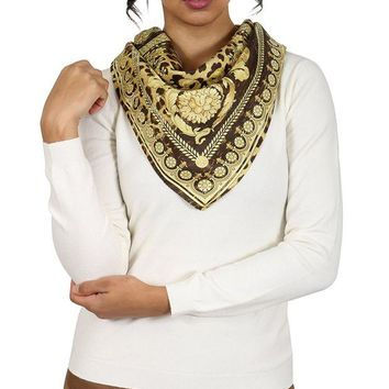 DCCK3SY Versace Brown/Gold Leo Print Silk Foulard Scarf