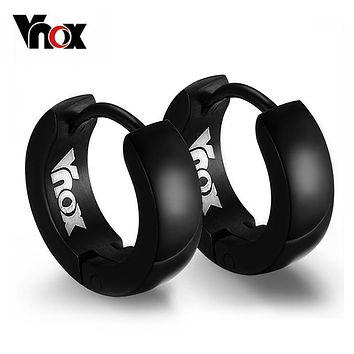 VNOX Cute Hoop Earrings for Men Punk Stainless Steel Huggie Small Earrings 4 Color